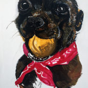 Bella and her Ball – 25x30cm. Sam James Fine Art