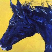 Yellow Horse for Rhys. Private Commission. 50x40cm. Sam James Fine Art